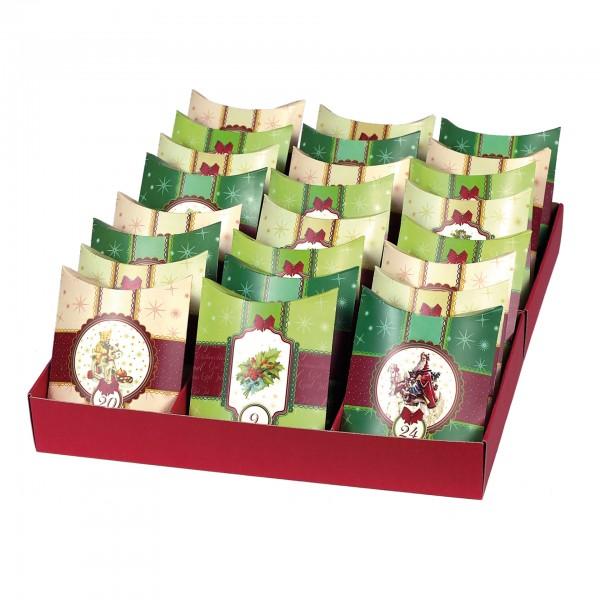 24 Adventskissen mit 24 Kissenverpackungen, stehend in Box