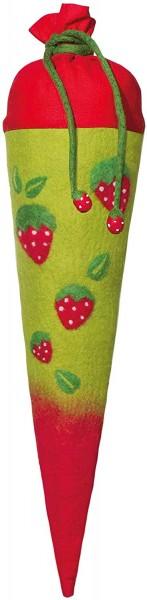 Schultüte gefilzt Motiv Erdbeeren, 70cm, rund - Bezug 100% Wolle
