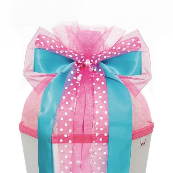 "Schleife ""Pink Dots"", ca. 50x23 cm, 85% Polyester, 15% Acryl"