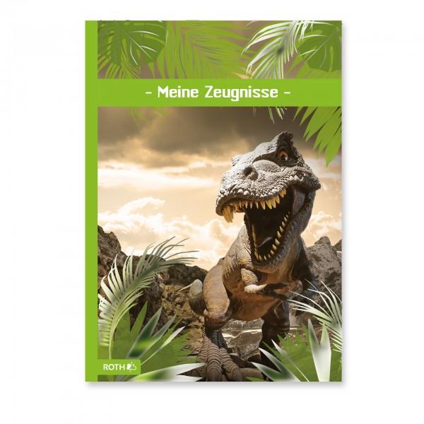Zeugnismappe mit Design und Effekt, A4, Folie, 10 Einlagen, Tyrannosaurus