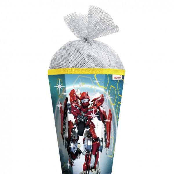 Schultüte Dynamic Robot, 85 cm, eckig, Rot(h)-Spitze, Silbertüll, Folie