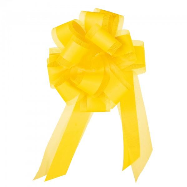 Ziehschleife mit Tüll, Ø 19 cm, gelb