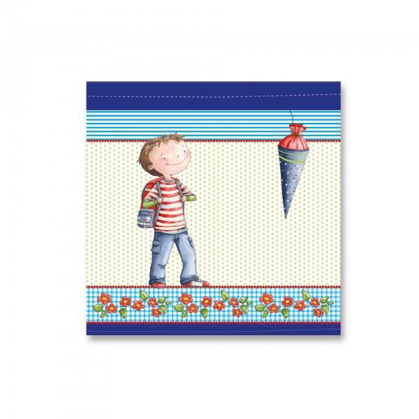 Servietten Leni & Paul, blau, 33x33 cm, 20 Stück pro Packung, zum Schulanfang