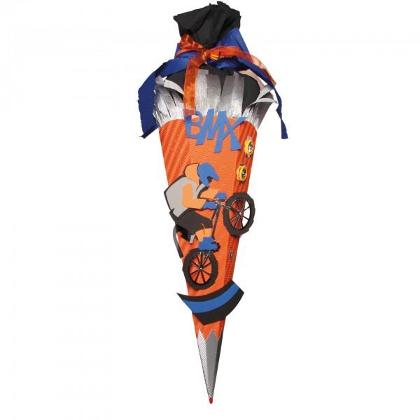 Schultüten-Bastelset mit Moosgummiteilen, BMX - Bastelset, 68 cm, eckig, Rot(h)-Spitze, Kreppverschl