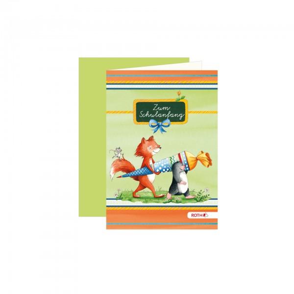 Schulanfangs-Serie Flinki & Schlau, Einladungskarte, 11,3x16,2 cm, 5er Blister