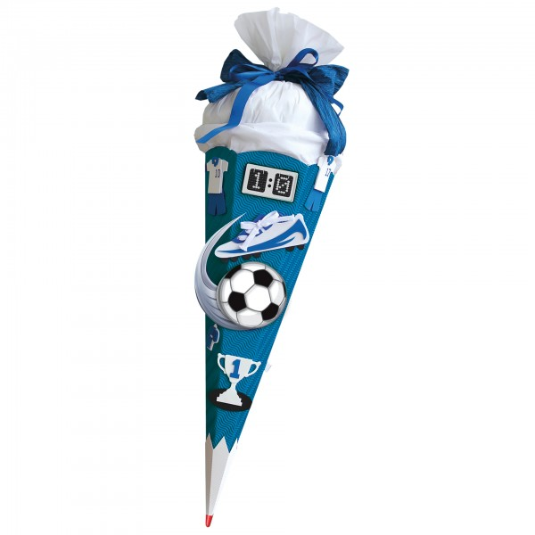 Schultüten-Bastelset mit Moosgummiteilen, Soccer - Bastelset blau, 68 cm, eckig, Rot(h)-Spitze, Krep