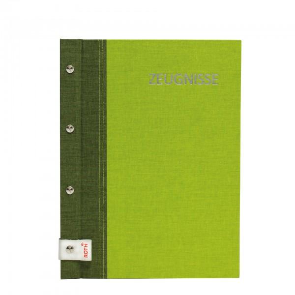 Zeugnismappe Bicolor mit Buchschrauben, A4, 12 Einlagen, Olive-Green