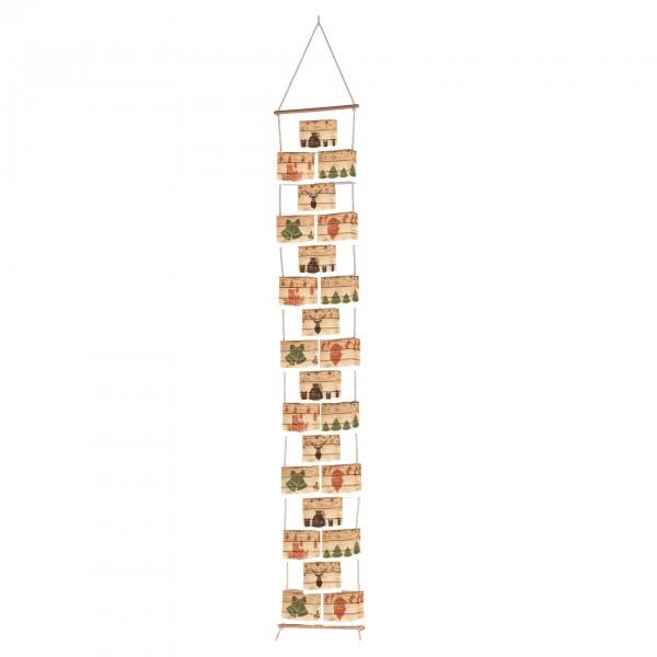 """Adventsboxenkette """"Hygge-Style"""" mit 24 Boxen, Kordel, 2 Holzstäbe und Zahlenetiketten 1-24"""