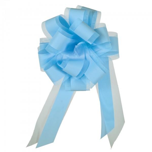 Ziehschleife mit Tüll, Ø 19 cm, hellblau