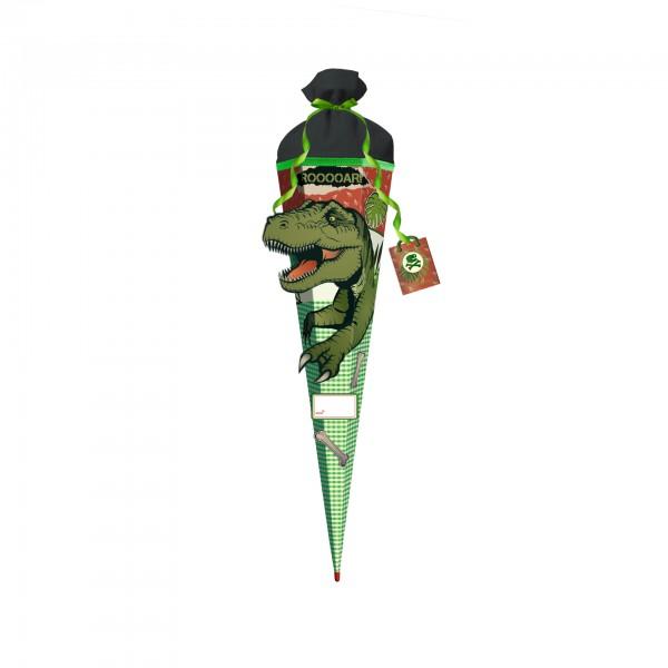 3D-Schultüte Bastelset T-Rex Ralle, 80 cm, eckig, Rot(h)-Spitze, Filzverschluss