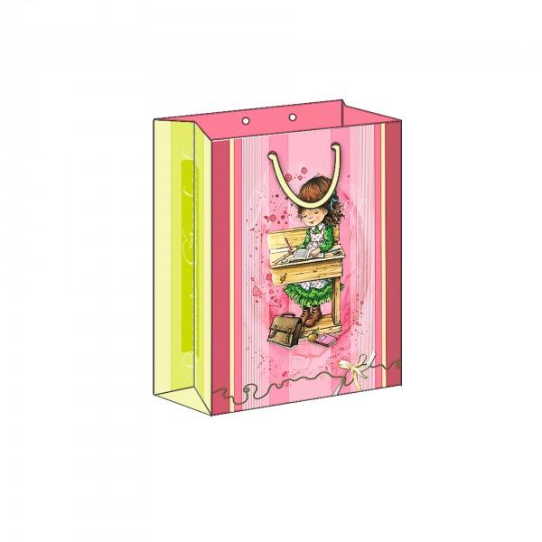 "Geschenkbeutel ""Schule"" groß, rosa, 19x24 cm"
