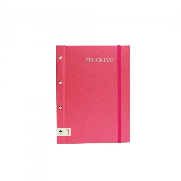 Zeugnismappe Metallium mit Buchschrauben, A4, 12 Einlagen, Pink