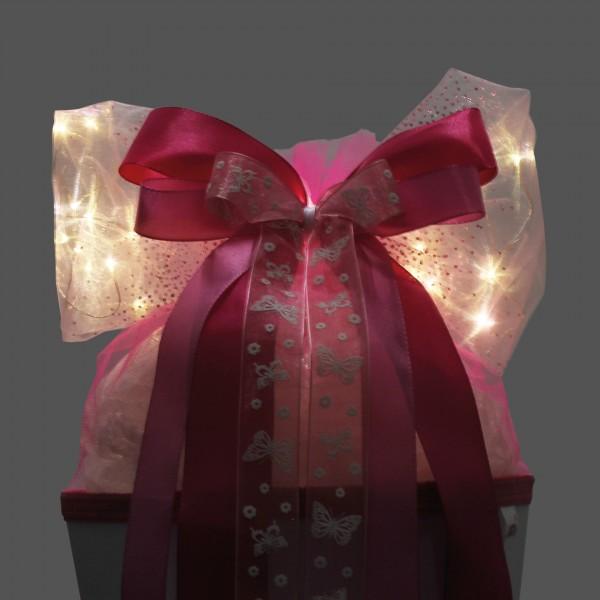 "LED-Schleife ""Pink Glamour"", ca. 50x23 cm"