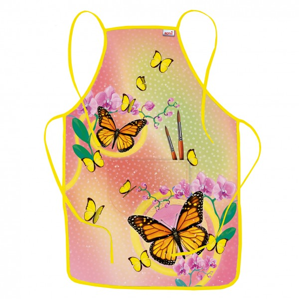 Kinderschürze Schmetterling, ca. 40x60 cm, zum Malen und Basteln, 100% Polyester