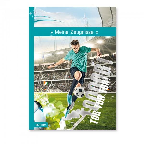 Zeugnismappe Fußballstar A4, 10 Einlagen, Glitzerfolie