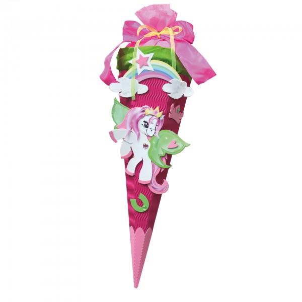 Schultüten-Bastelset mit Moosgummiteilen, Pony - Geschwistertüte, 40 cm, eckig, Kreppverschluss