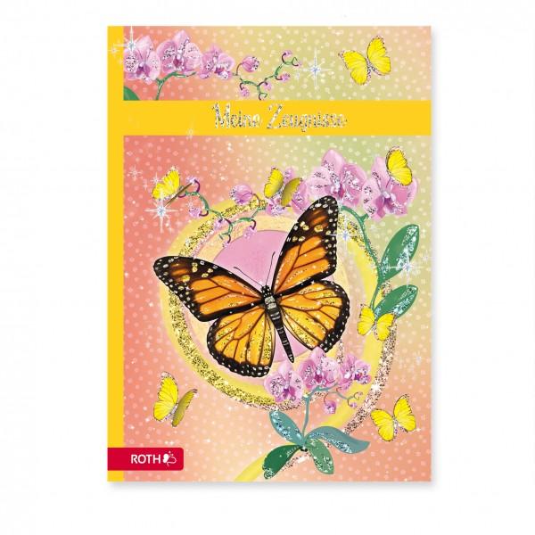 Zeugnismappe mit Design und Effekt, A4, Glitter, 10 Einlagen, Schmetterling