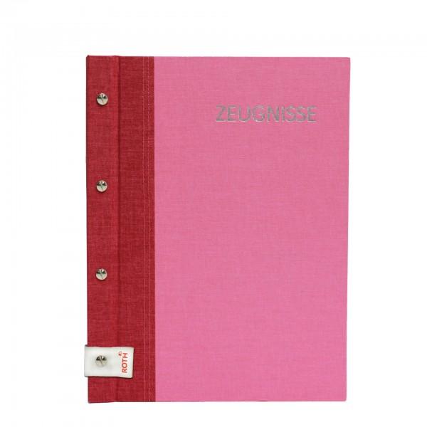 Zeugnismappe Bicolor mit Buchschrauben, A4, 12 Einlagen, Cherry-Pink