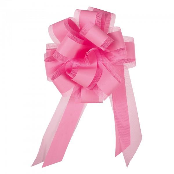 Ziehschleife mit Tüll, Ø 19 cm, rosa