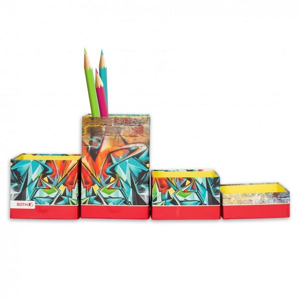 Stifteköcher, Graffiti, 8x8x2 - 12 cm