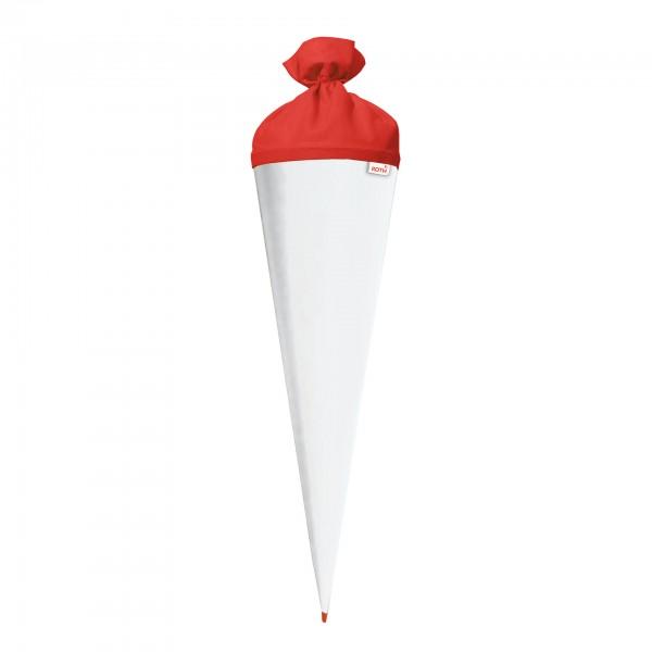 Bastel-Schultüte weiß, eckig, 85 cm, verschiedene Verschlussfarben
