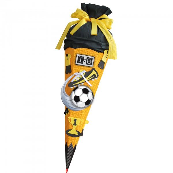 Schultüten-Bastelset mit Moosgummiteilen, Soccer - Bastelset gelb, 68 cm, eckig, Rot(h)-Spitze, Krep