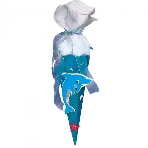Schultüten-Bastelset mit Moosgummiteilen, Delfin - Geschwistertüte, 40 cm, eckig, Kreppverschluss