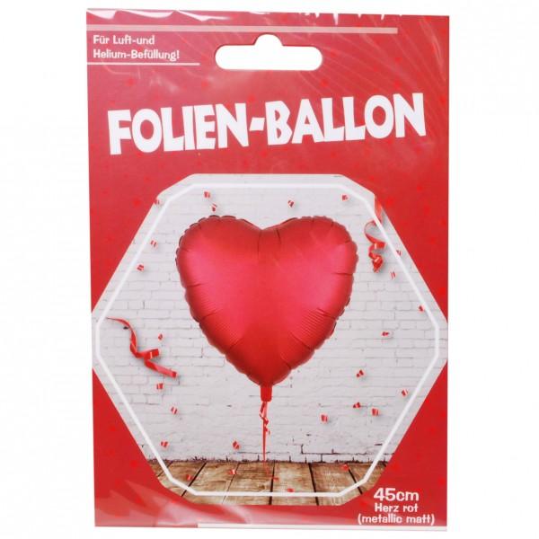 Folien-Herz-Ballon, matt rot