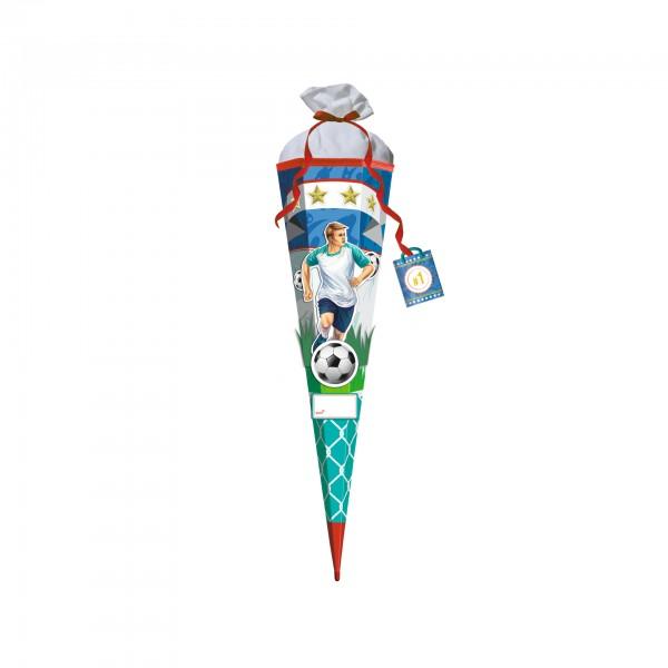 3D-Schultüte Bastelset Stürmer Sam, 80 cm, eckig, Rot(h)-Spitze, Filzverschluss