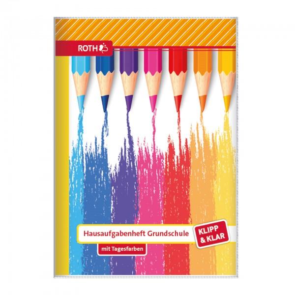 Klipp&Klar Grundschulaufgabenheft Buntstifte mit Tagesfarben
