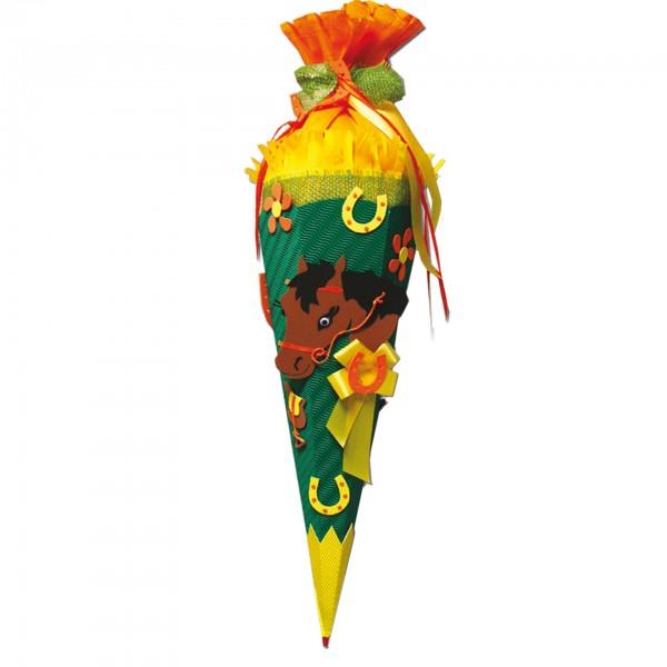 Schultüten-Bastelset mit Moosgummiteilen, Pferd - Bastelset, 68 cm, eckig, Rot(h)-Spitze, Kreppversc