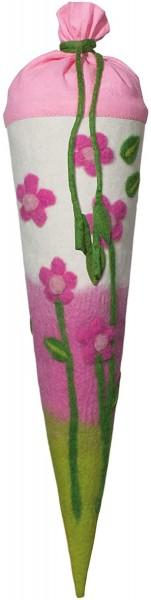 Schultüte gefilzt, Motiv Blumen, 70cm, rund - Bezug 100% Wolle