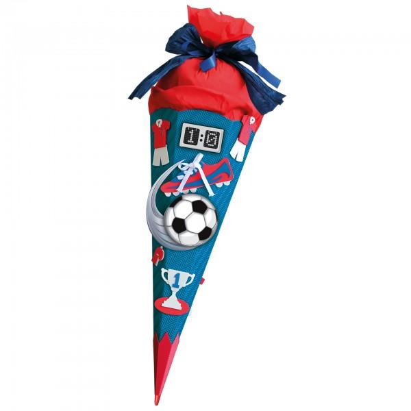 Schultüten-Bastelset mit Moosgummiteilen, Soccer - Bastelset rot, 68 cm, eckig, Rot(h)-Spitze, Krepp