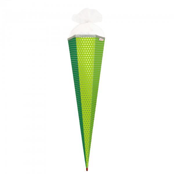 Basteltüte, Grün - Punkte, 85 cm, eckig, Rot(h)-Spitze, Tüllverschluss, Folie