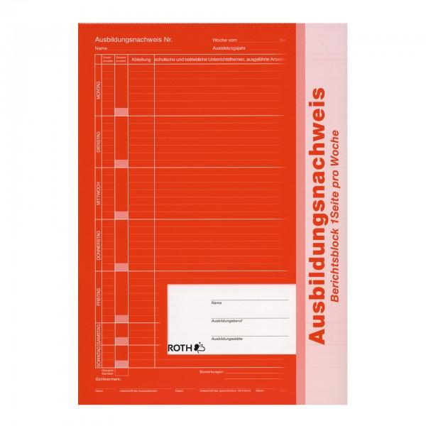 Ausbildungsnachweis, A4, 1 Woche 1 Seite, kaufmännisch; Block