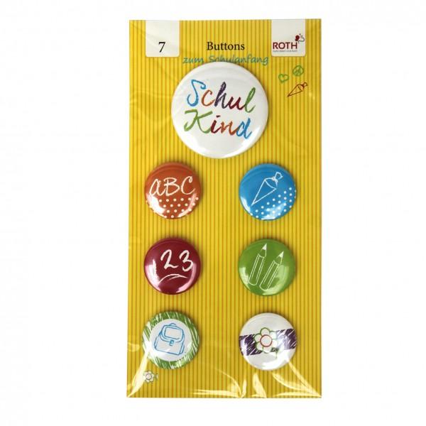 Schulanfangs-Serie Flinki & Schlau, Buttons, ø 1x5,6cm, ø 6x3,2cm, 7er Sort. gemischt