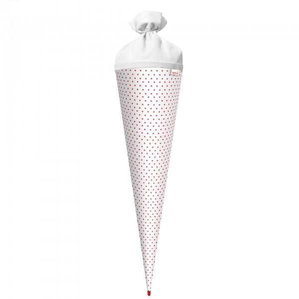 Basteltüte, Weiß - rote Punkte, 70 cm, rund, Rot(h)-Spitze, Filzverschluss