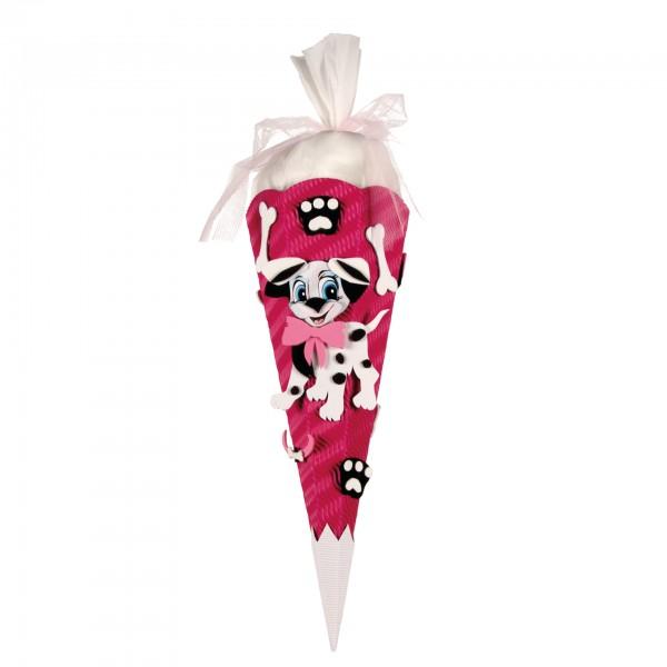 Schultüten-Bastelset mit Moosgummiteilen, Dalmatiner - Geschwistertüte, 40 cm, eckig, Kreppverschlus