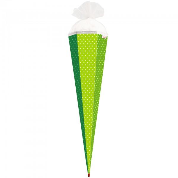 Basteltüte, Grün - weiße Punkte, 85 cm, eckig, Rot(h)-Spitze, Tüllverschluss
