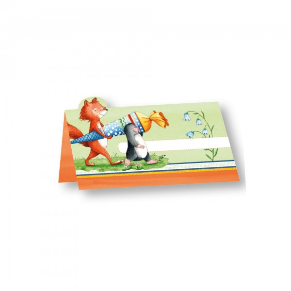 Schulanfangs-Serie Flinki & Schlau, Tischkarte, 5x9 cm, 6er Blister