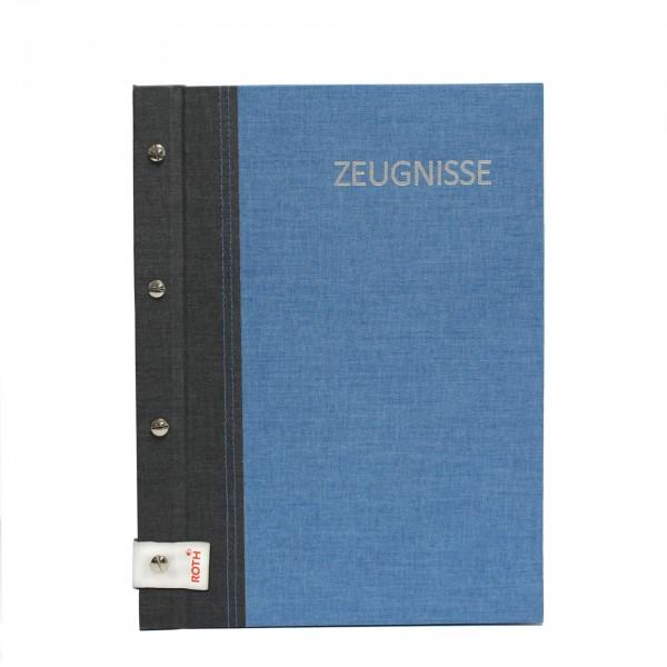 Zeugnismappe Bicolor mit Buchschrauben, A4, 12 Einlagen, Grey-Denim Blue