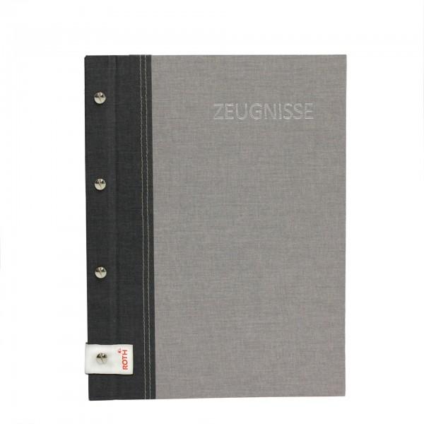 Zeugnismappe Bicolor mit Buchschrauben, A4, 12 Einlagen, Dark Grey-Grey