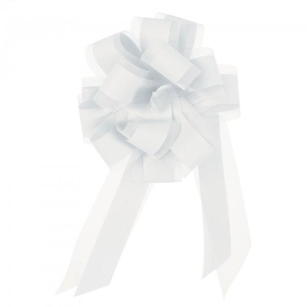 Ziehschleife mit Tüll, Ø 19 cm, weiß