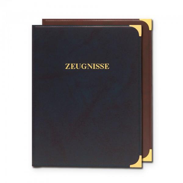 Zeugnisringbuch, A4, Kunstleder, Zierecken, ohne Einlagen, Dunkelblau