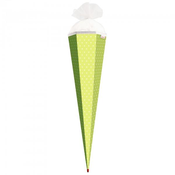 Basteltüte, Hellgrün - weiße Herzen, 85 cm, eckig, Rot(h)-Spitze, Tüllverschluss